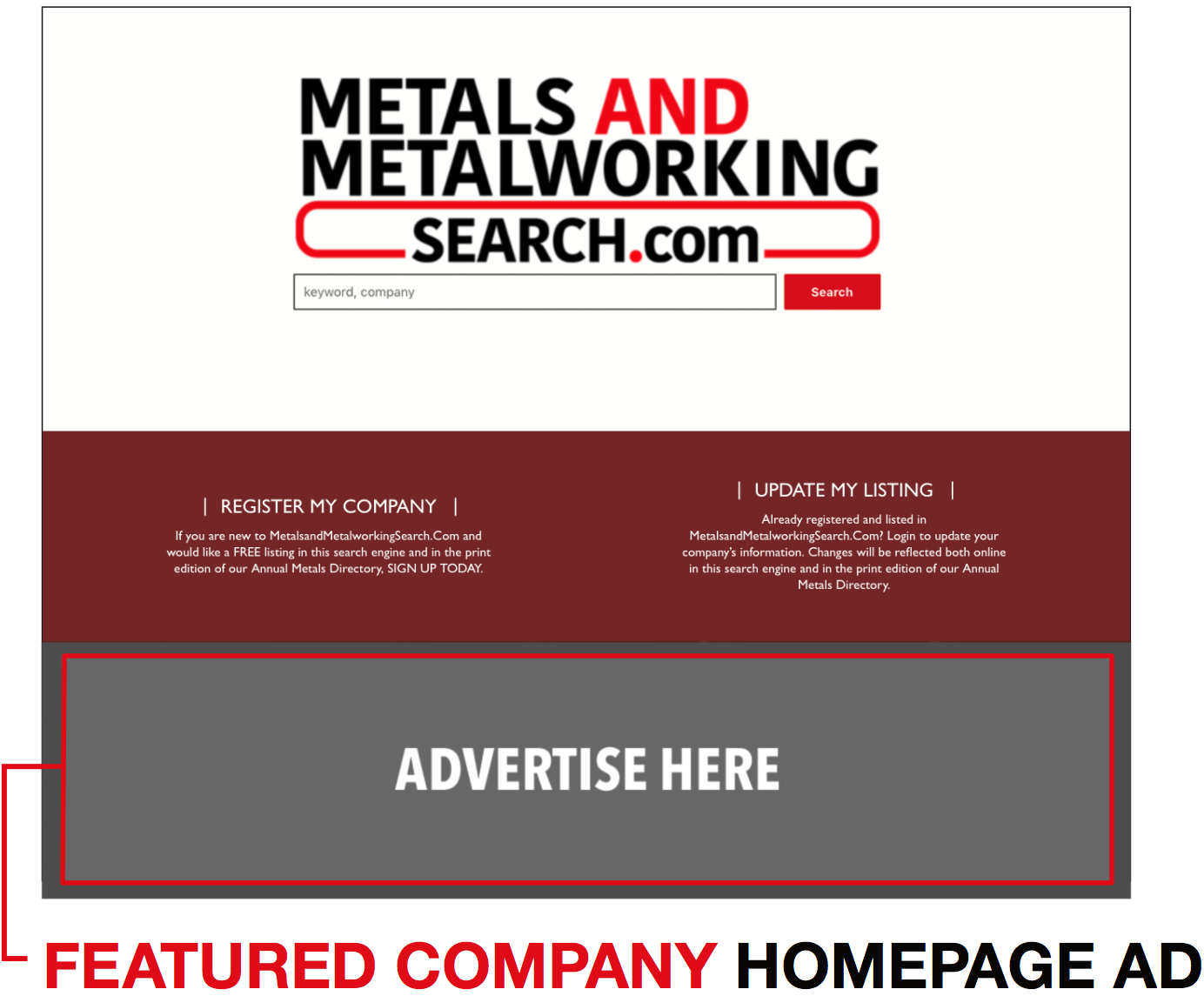 Featured Company Hompage Ads